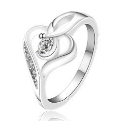 Vienna Jewelry Sterling Silver Abstract Heart Design Jewels Lining Ring Size: 8 - Thumbnail 0
