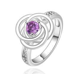 Vienna Jewelry Sterling Silver Purple Citrine Swirl Emblem Ring Size: 8 - Thumbnail 0