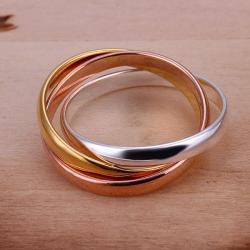 Vienna Jewelry Sterling Silver Muli-Colored Interwoven Band Ring Size: 6 - Thumbnail 0