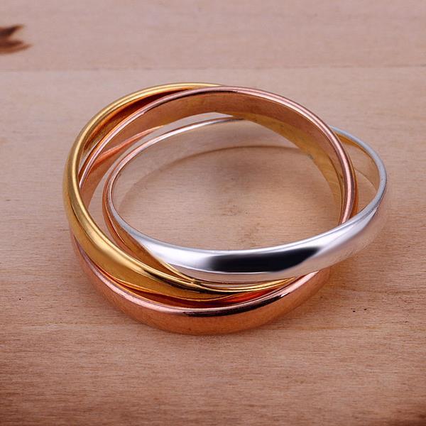 Vienna Jewelry Sterling Silver Muli-Colored Interwoven Band Ring Size: 8