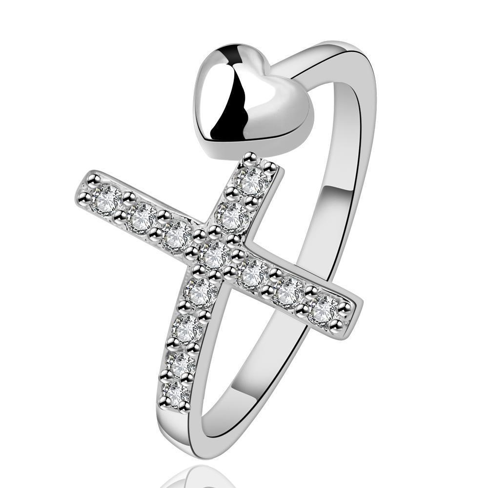 Vienna Jewelry Sterling Silver Cross & Heart Modern Ring Size: 8