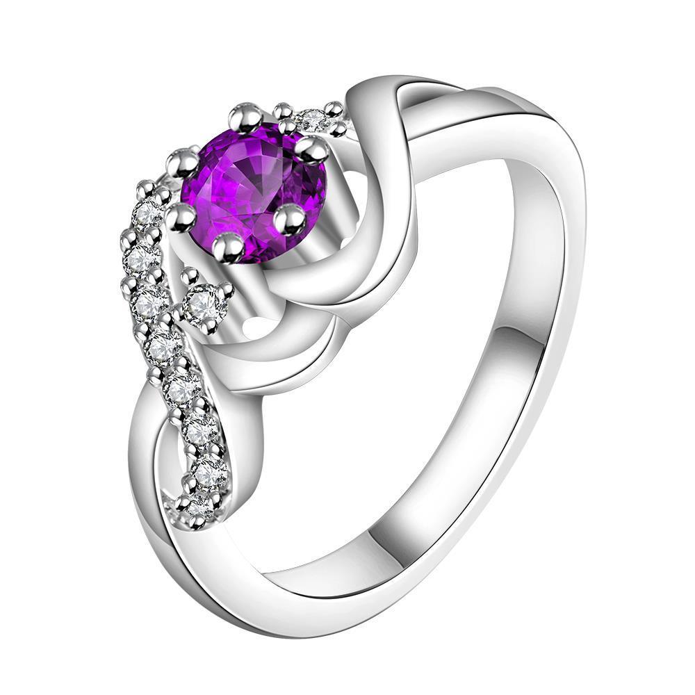 Vienna Jewelry Sterling Silver Petite Purple Citrine Swirl Design Ring Size: 8