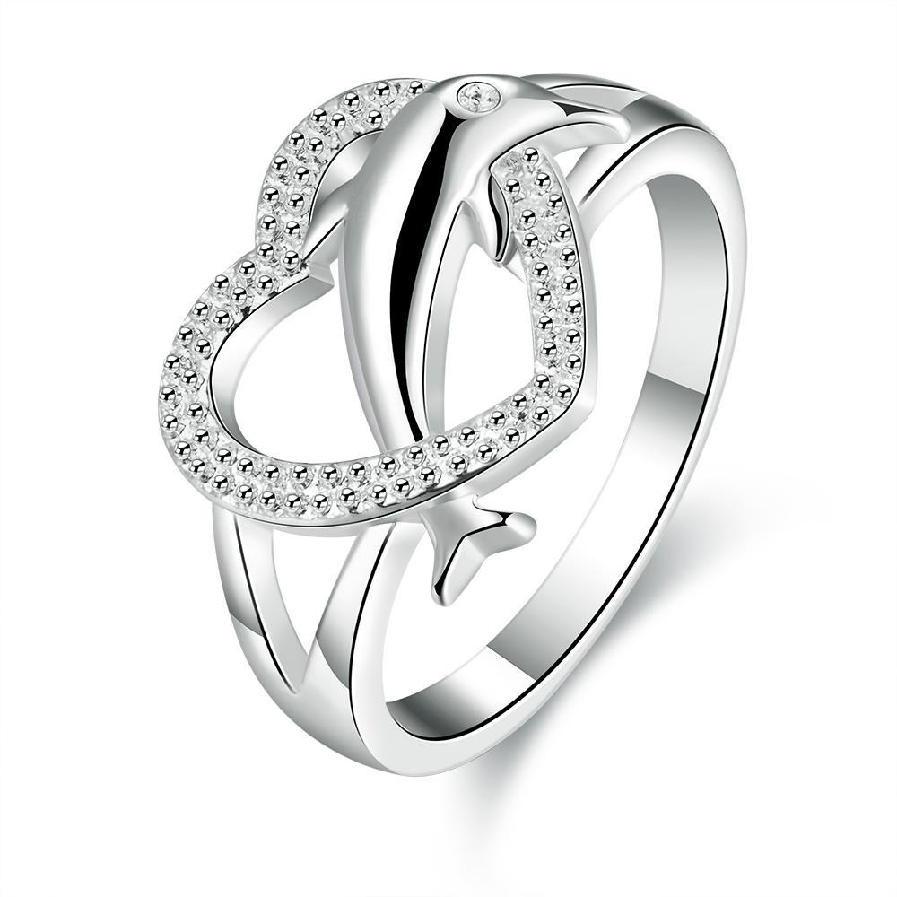 Vienna Jewelry Sterling Silver Curved Heart Shaped Ring Size: 8