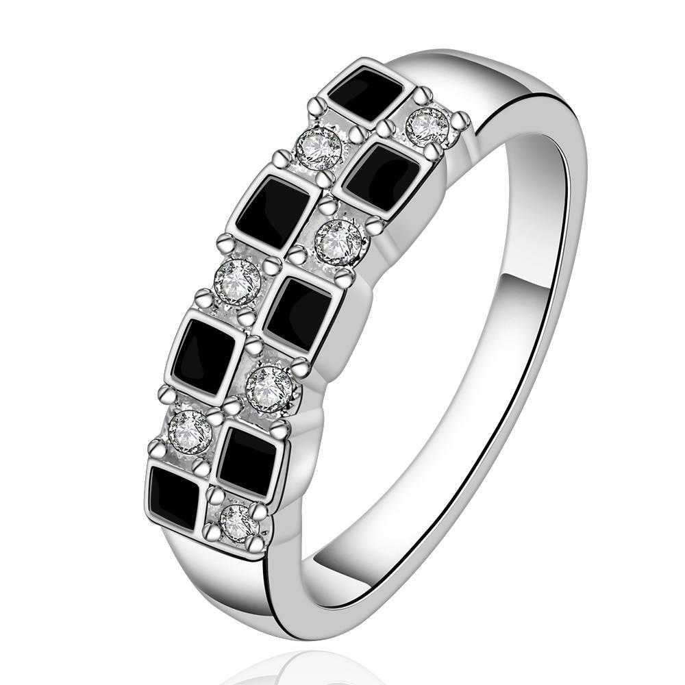 Vienna Jewelry Sterling Silver Onyx & Crystal Layering Petite Ring Size: 7
