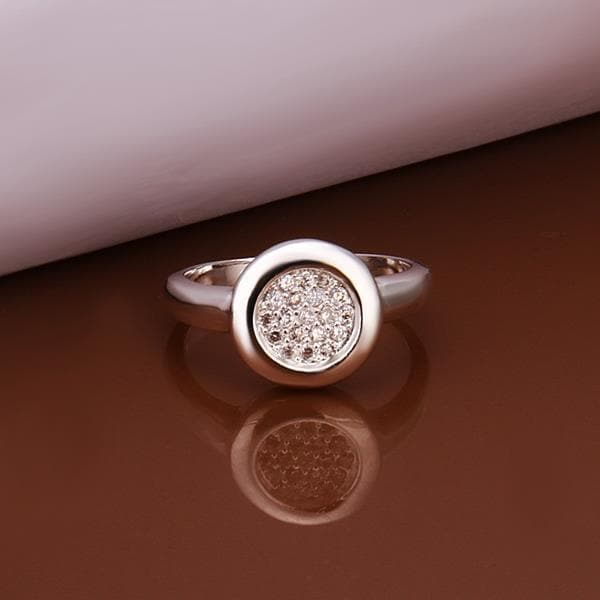 Vienna Jewelry Sterling Silver Circular Pendant Petite Ring Size: 8