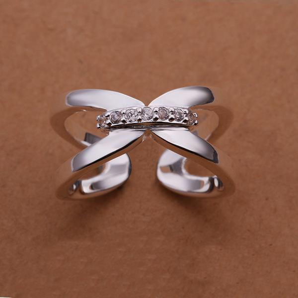 Vienna Jewelry Sterling Silver Open Clasp Modern Ring Size: 8