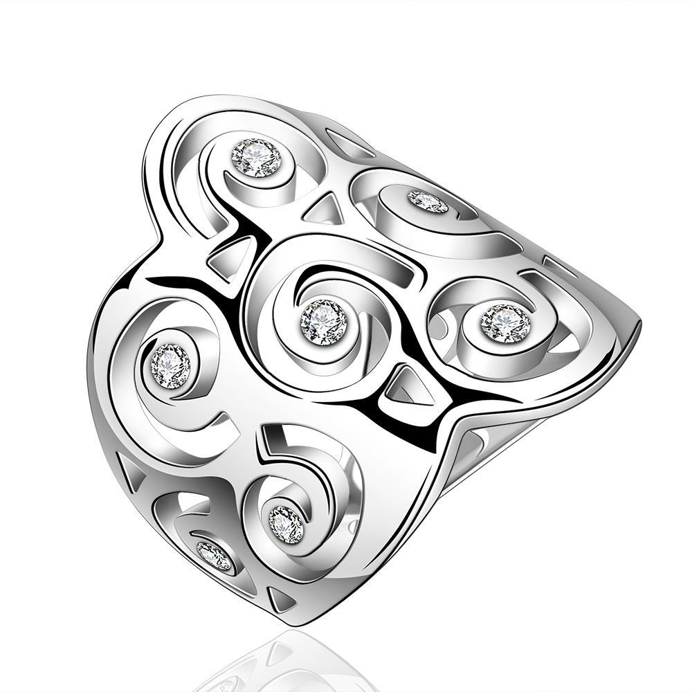 Vienna Jewelry Sterling Silver Swirl Design Crown Ring Size: 8