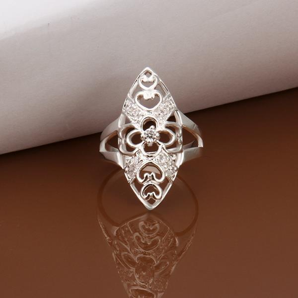 Vienna Jewelry Sterling Silver Laser Cut Oval Shaped Petite Ring Size: 8