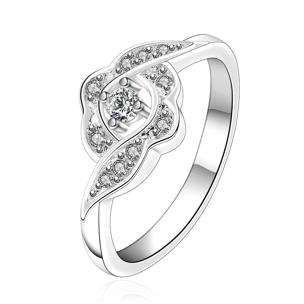 Vienna Jewelry Silve Tone Swirl Cluster Clover Petite Ring Size: 7