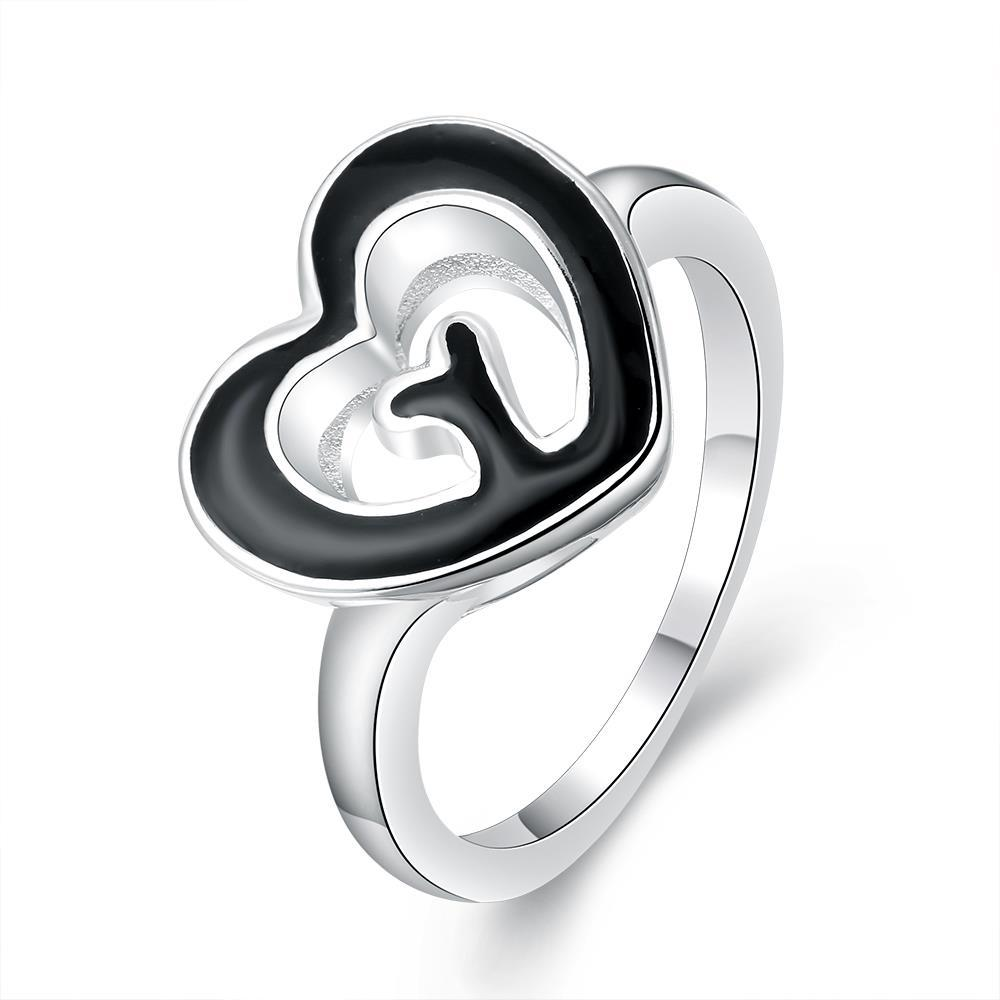 Vienna Jewelry Sterling Silver Petite Ring with Onyx Heart Shaped Ring Size: 8