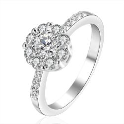 Vienna Jewelry Sterling Silver Crystal Pav'e Ball Petite Ring Size: 7 - Thumbnail 0