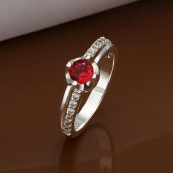 Vienna Jewelry Petite Ruby Red Jewels Crusted Petite Ring Size: 8 - Thumbnail 0