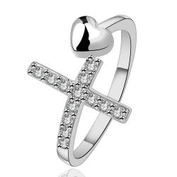 Vienna Jewelry Sterling Silver Cross & Heart Modern Ring Size: 8 - Thumbnail 0