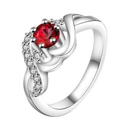 Vienna Jewelry Sterling Silver Petite Ruby Red Swirl Design Ring Size: 8 - Thumbnail 0