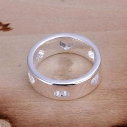 Vienna Jewelry Sterling Silver Petite Ring with Hollow Hearts Ingrain Size: 7 - Thumbnail 0