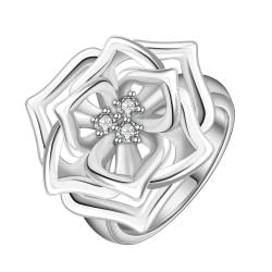 Vienna Jewelry Sterling Silver Trio-Floral Petals Blossoming Ring Size: 8 - Thumbnail 0