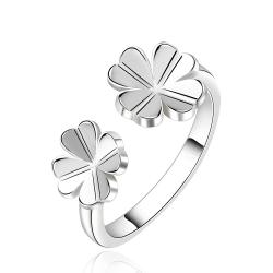 Vienna Jewelry Sterling Silver Petite Duo-Clover Stud Ring Size: 8 - Thumbnail 0