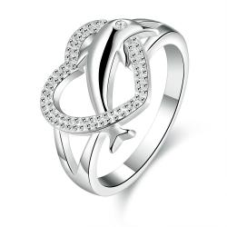Vienna Jewelry Sterling Silver Curved Heart Shaped Ring Size: 8 - Thumbnail 0