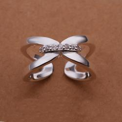 Vienna Jewelry Sterling Silver Open Clasp Modern Ring Size: 8 - Thumbnail 0