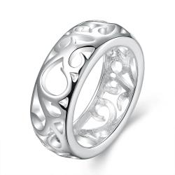 Vienna Jewelry Sterling Silver Laser Cut Hollow Design Band Size: 8 - Thumbnail 0
