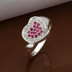 Vienna Jewelry Sterling Silver Ruby Red & Jewels Covering Heart Ring Size: 8 - Thumbnail 0