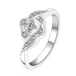 Vienna Jewelry Silve Tone Swirl Cluster Clover Petite Ring Size: 7 - Thumbnail 0