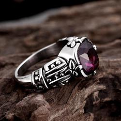 Vienna Jewelry Lavender Gem Stainless Steel Ring - Thumbnail 0