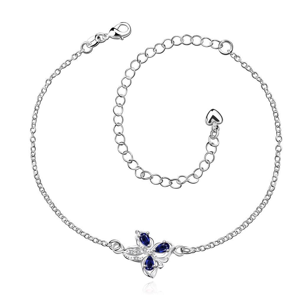 Vienna Jewelry Mock Sapphire Clover Stud Emblem Anklet