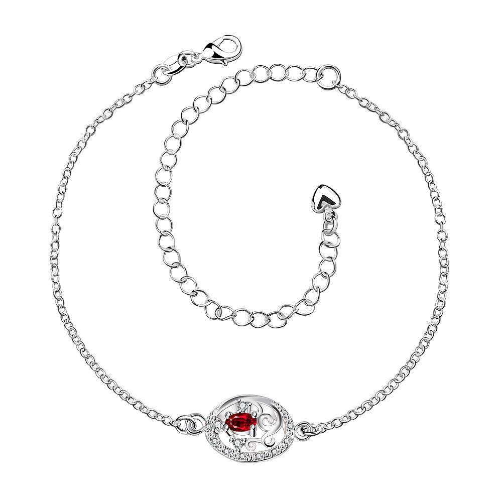 Vienna Jewelry Laser Cut Ruby Red Emblem Petite Anklet