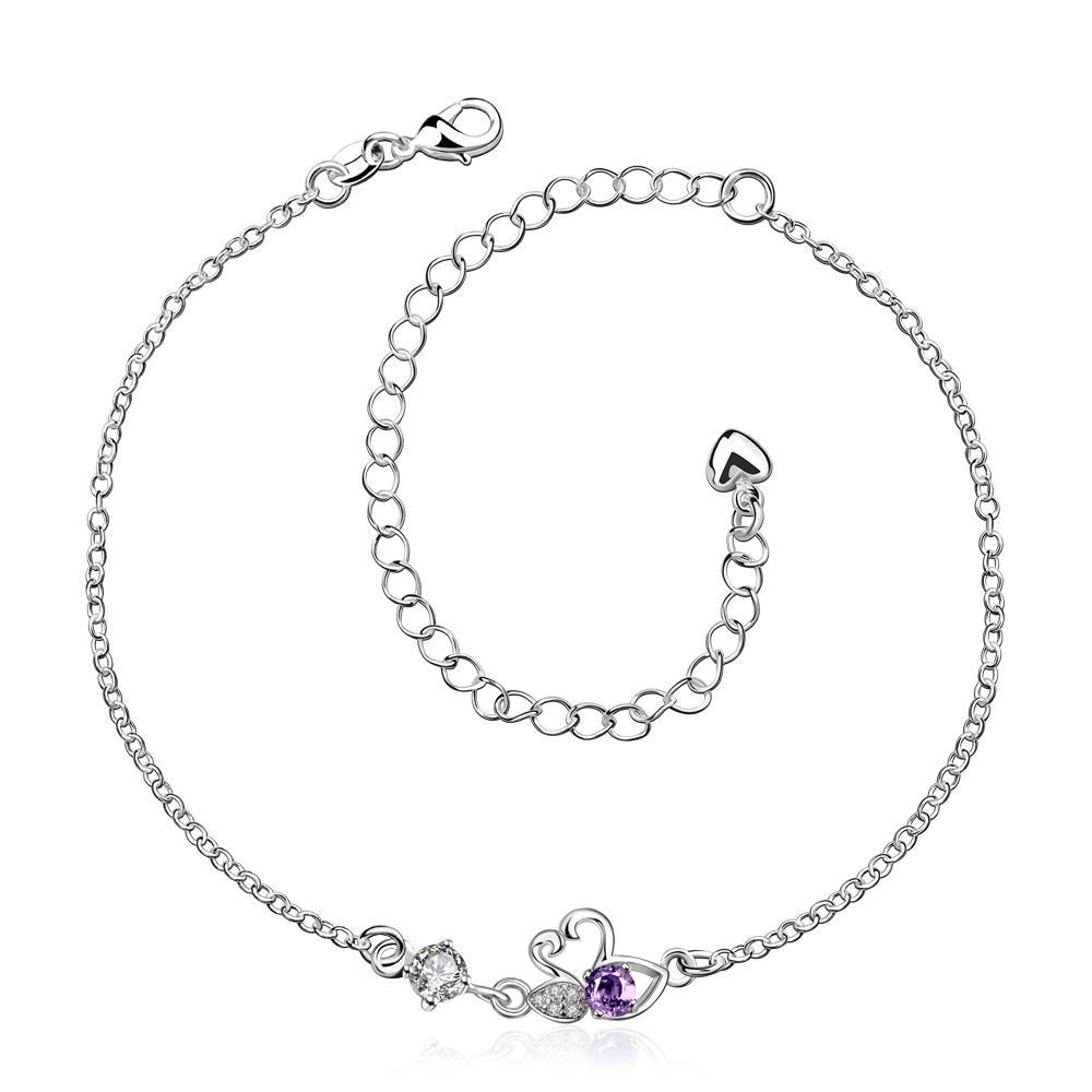 Vienna Jewelry Purple Citrine Mini Butterfly Classic Anklet