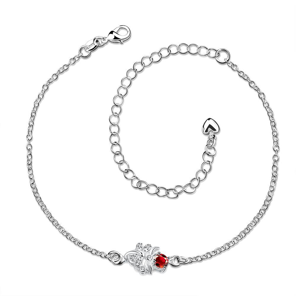 Vienna Jewelry Grape Vine Ruby Red Petite Anklet