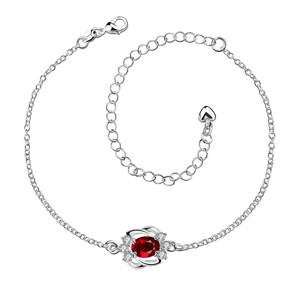 Vienna Jewelry Ruby Red Curved Abstract Petite Anklet