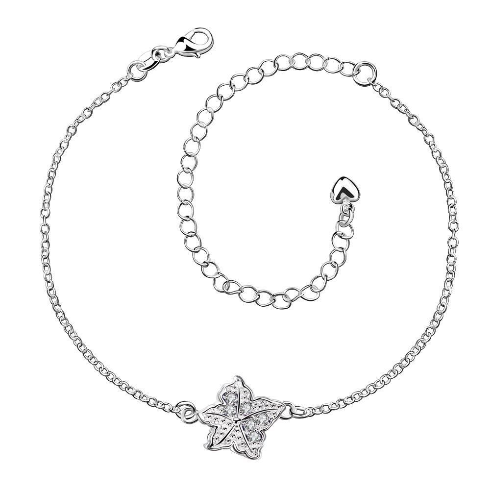 Vienna Jewelry Crystal Jewels Floral Emblem Petite Anklet