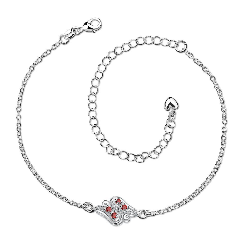 Vienna Jewelry Ruby Red Floral Bud Petite Anklet