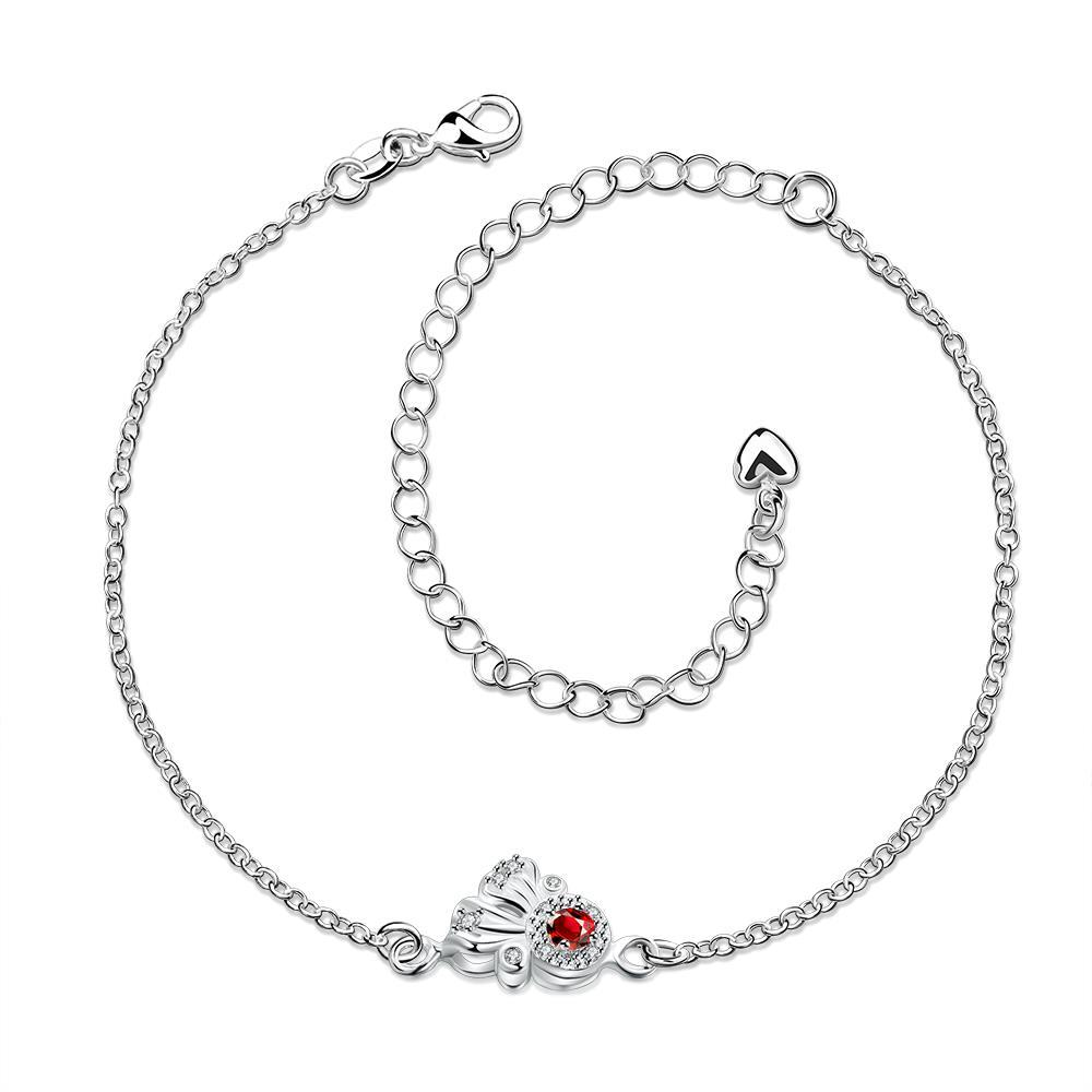 Vienna Jewelry Petite Ruby Red Gem Floral Anklet