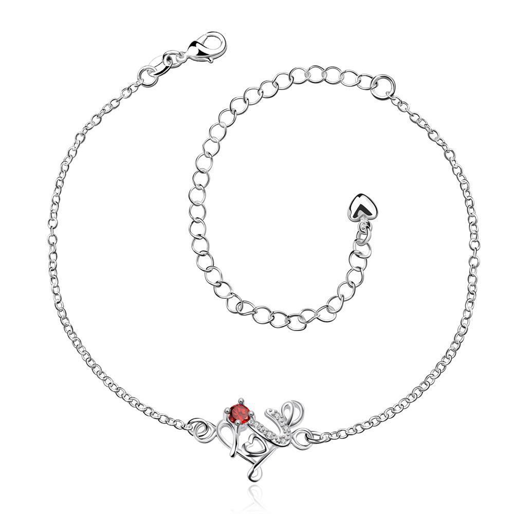 Vienna Jewelry Ruby Red Spiral Floral Emblem Anklet
