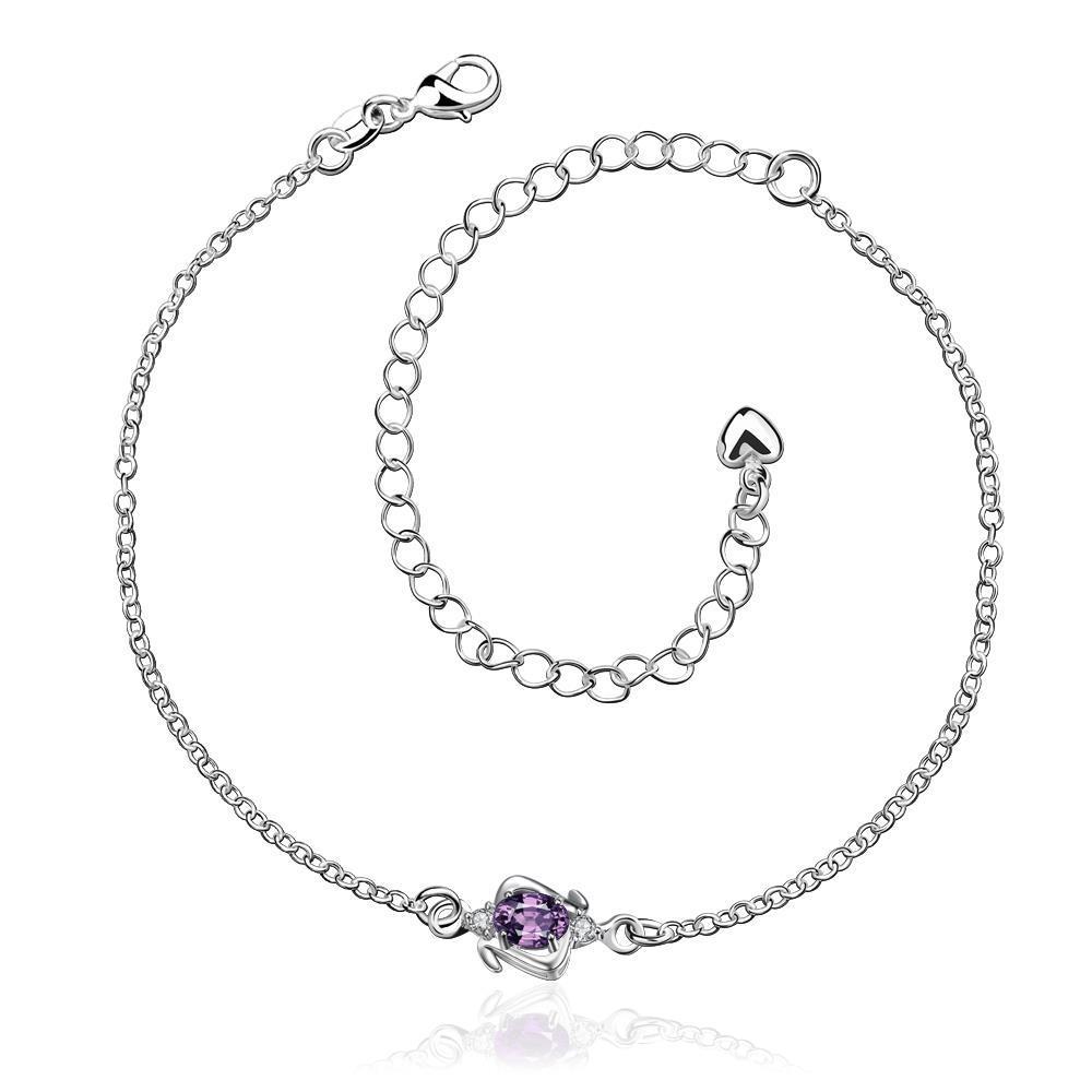 Vienna Jewelry Mini Purple Citrine Gem Classic Anklet