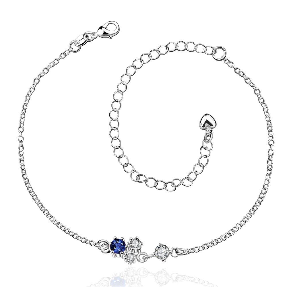 Vienna Jewelry Petite Mock Sapphire Butterfly Shaped Anklet