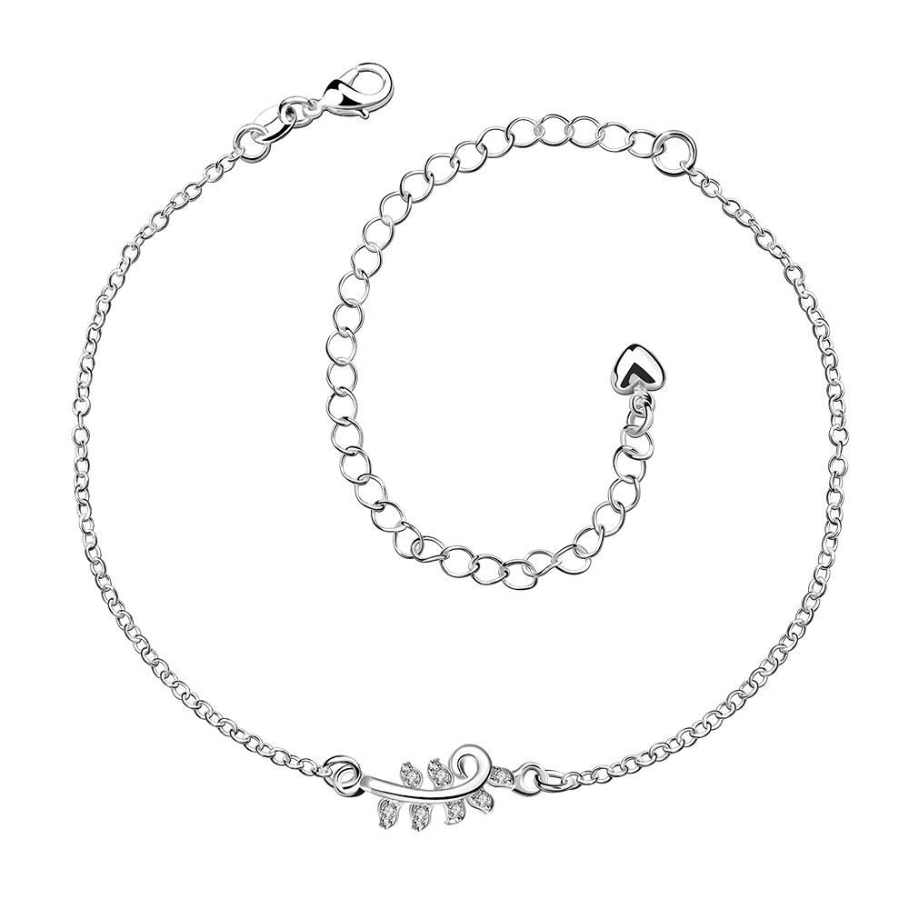 Vienna Jewelry Simple Zig Zag Petite Anklet