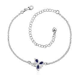 Vienna Jewelry Mock Sapphire Clover Stud Emblem Anklet - Thumbnail 0