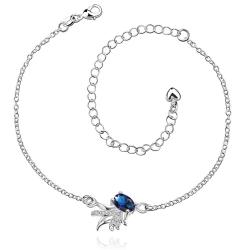 Vienna Jewelry Mock Saphire Leaf Branch Pettie Anklet - Thumbnail 0