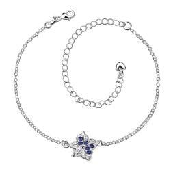 Vienna Jewelry Mock Sapphire Floral Emblem Petite Anklet - Thumbnail 0