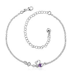 Vienna Jewelry Purple Citrine Mini Butterfly Classic Anklet - Thumbnail 0
