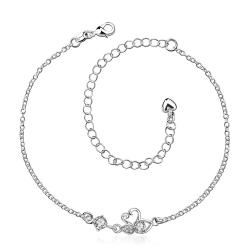 Vienna Jewelry Crystal Stone Mini Butterfly Classic Anklet - Thumbnail 0