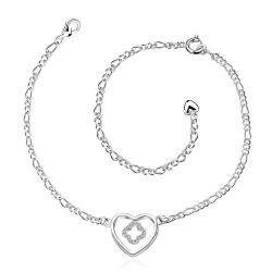 Vienna Jewelry Hollow Heart Pendant Petite Anklet - Thumbnail 0