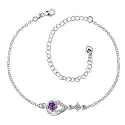 Vienna Jewelry Purple Citrine Gem Diamond Shaped Insert Petite Anklet - Thumbnail 0
