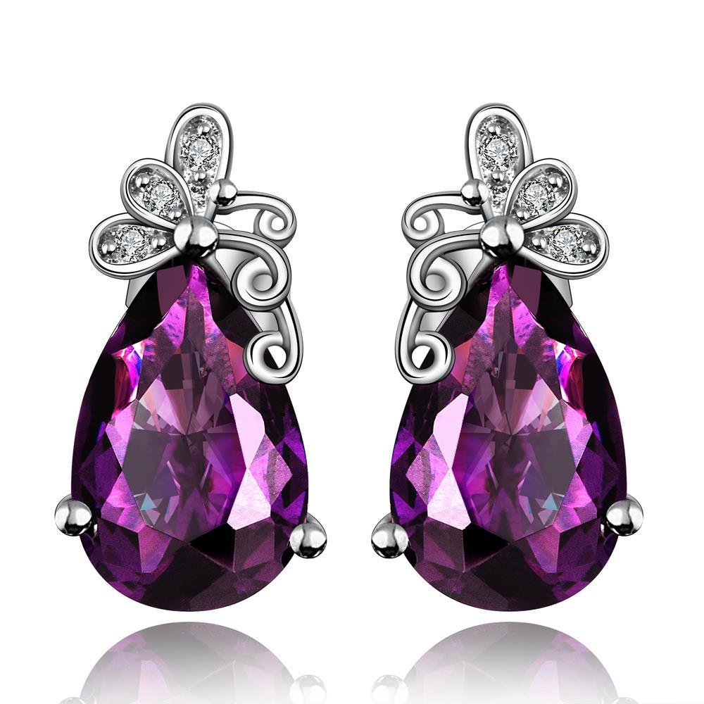 Vienna Jewelry Purple Citrine Butterfly Overlayering Earrings