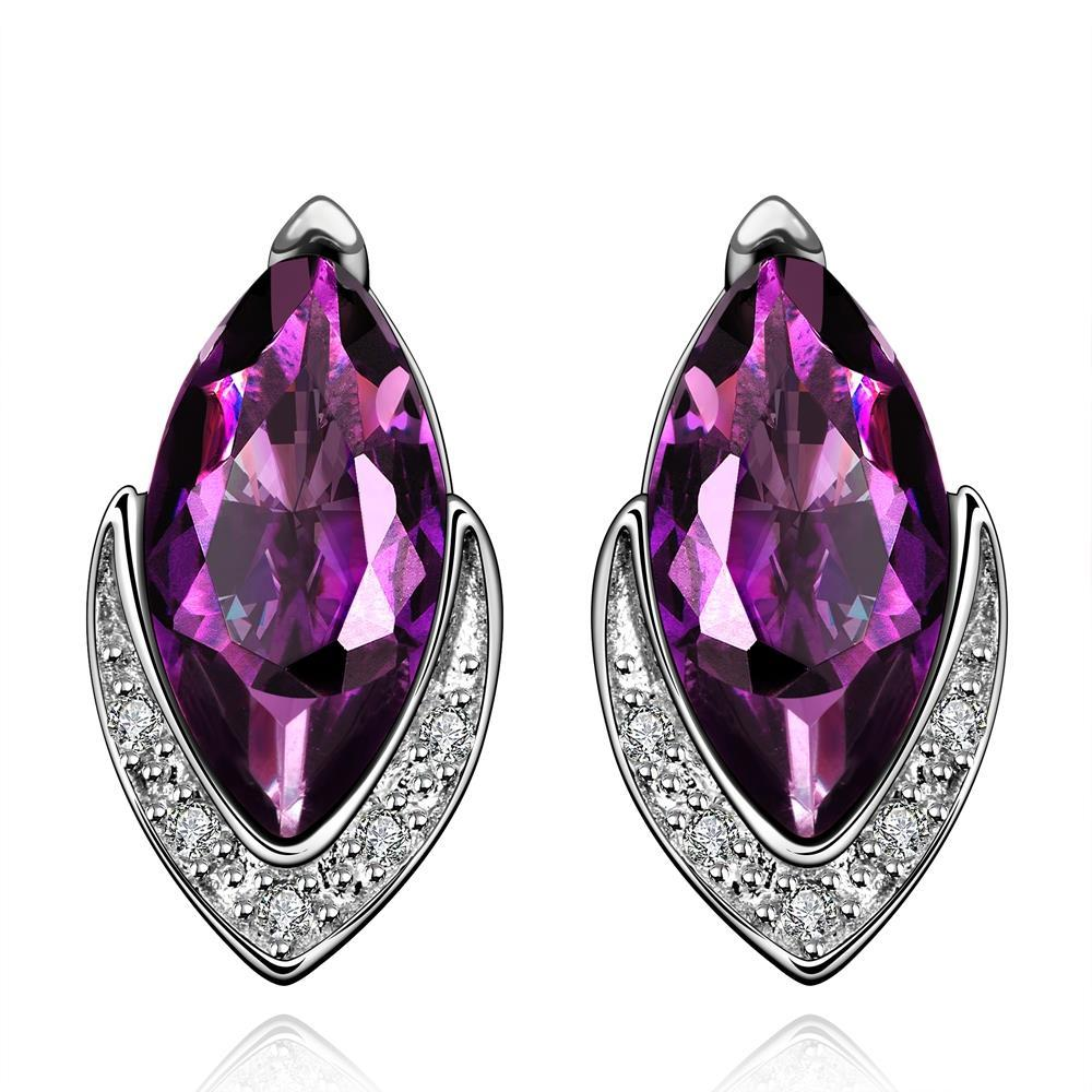Vienna Jewelry Purple Citrine Diamond Shaped Crystal Jewels Covering Earrings