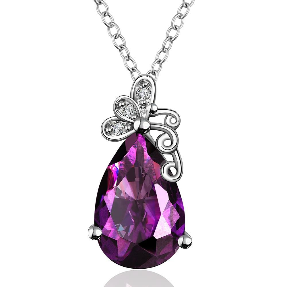 Vienna Jewelry Large Purple Citrine Gem Butterfly Insert Necklace