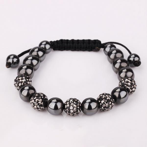 Vienna Jewelry Crystal & Onyx Stone Hand Made Bracelet